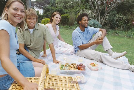 two men and two women enjoying a picnic on the grass Stock Photo - Premium Royalty-Free, Code: 627-00862309