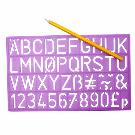 stencils - Close up of a stencil and pencil Stock Photo - Premium Royalty-Free, Code: 627-01066209