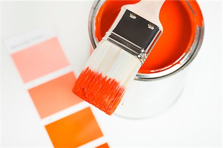 paint - Orange paint can with paintbrush and color sample Stock Photo - Premium Royalty-Free, Code: 628-05817711