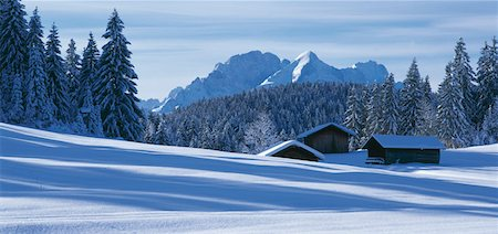 panoramic winter scene - Snowy mountain scenery Stock Photo - Premium Royalty-Free, Code: 628-02062627