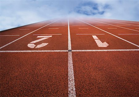 sprint - Numbered running tracks in clouds Stock Photo - Premium Royalty-Free, Code: 628-02062698