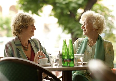 street cafe day - Two senior women in outdoor cafe Stock Photo - Premium Royalty-Free, Code: 628-02953827
