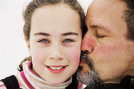 preteen kissing - Father kissing daughter Stock Photo - Premium Royalty-Free, Code: 621-00730052