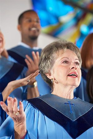 Church Choir with Palms Raised Stock Photo - Premium Royalty-Free, Code: 621-00795304
