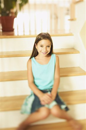 preteen  smile  one  alone - Pre-teen girl sitting on stairs Stock Photo - Premium Royalty-Free, Code: 621-01176719