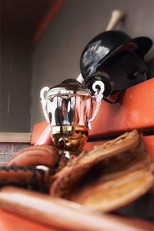 Baseball equipment and trophy Stock Photo - Premium Royalty-Free, Code: 621-01799288