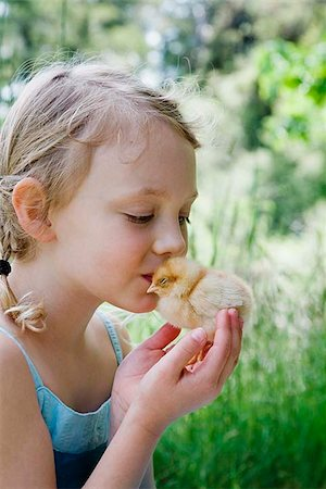 preteen kissing - Girl kissing soft chick Stock Photo - Premium Royalty-Free, Code: 621-02357609