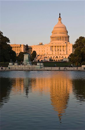 The dome of the Capitol Building reflected in the Capitol Reflecting Pool, evening light, Washington Stock Photo - Premium Royalty-Free, Code: 621-03596931