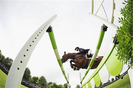 equestrian - Horseback Rider Jumping Hurdle Stock Photo - Premium Royalty-Free, Code: 622-05786758