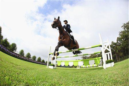equestrian - Horseback Rider Jumping Hurdle Stock Photo - Premium Royalty-Free, Code: 622-05786774