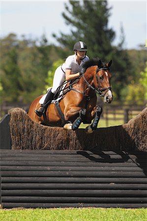 equestrian - Young Woman Horseback Rider Jumping Hurdle Stock Photo - Premium Royalty-Free, Code: 622-05786792