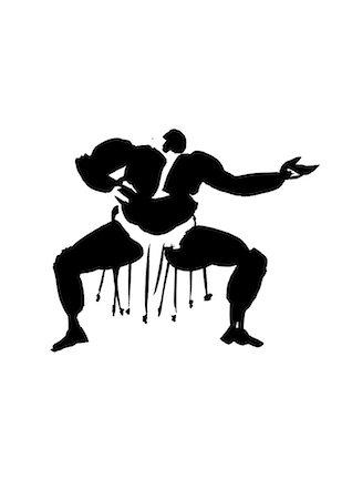 fat man exercising - Wrestler Practicing, Illustration Stock Photo - Premium Royalty-Free, Code: 622-06190884