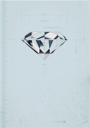 diamond - Diamond With Measure Graph Stock Photo - Premium Royalty-Free, Code: 622-06190968