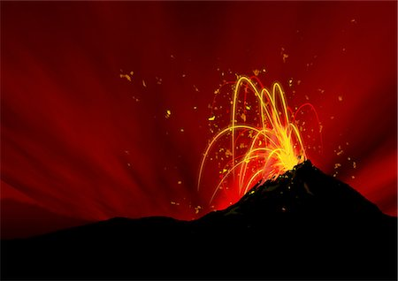 sparks illustration - Volcano Stock Photo - Premium Royalty-Free, Code: 622-06190993