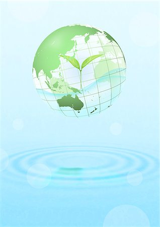 Globe With Leaf Inside Floating Over Water Stock Photo - Premium Royalty-Free, Code: 622-06191013