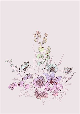 pretty background designs - Flowers With Pale Background Stock Photo - Premium Royalty-Free, Code: 622-06191039