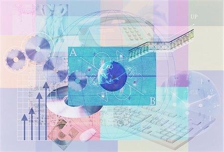 Illustration Of Globe And Computer Hardware Stock Photo - Premium Royalty-Free, Code: 622-06191164