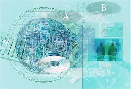 Blue Composite Image With Globe And Computer Hardware Stock Photo - Premium Royalty-Free, Code: 622-06191165