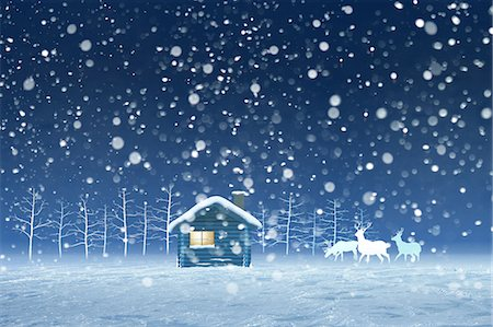 reindeer in snow - Illustration of hut and snow Stock Photo - Premium Royalty-Free, Code: 622-06369952