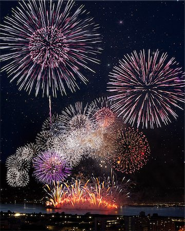 fireworks colored picture - Fireworks at Yodogawa, Osaka Stock Photo - Premium Royalty-Free, Code: 622-06370043