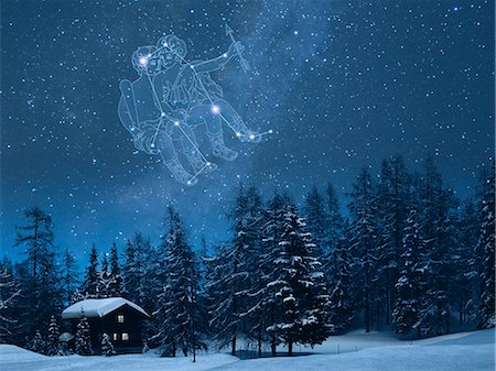 fantastically - Gemini constellation in the snowy Switzerland Stock Photo - Premium Royalty-Free, Code: 622-06398394