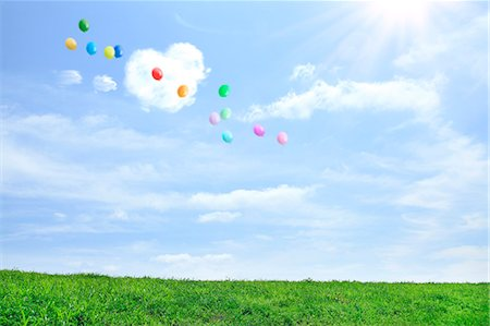 Grassland and sky with flying balloons Stock Photo - Premium Royalty-Free, Code: 622-06842534