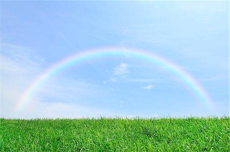 rainbow - Grassland and sky with rainbow Stock Photo - Premium Royalty-Free, Code: 622-06842539
