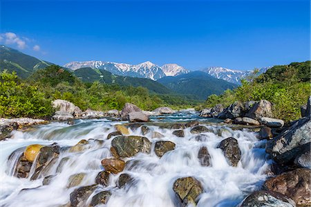 flowing - Matsu river and Hakuba mountain range, Nagano Prefecture Stock Photo - Premium Royalty-Free, Code: 622-07118056
