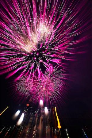 pink and purple fireworks - Fireworks Stock Photo - Premium Royalty-Free, Code: 622-07810644