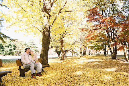 Senior Japanese couple sitting on a bench in a city park Stock Photo - Premium Royalty-Free, Code: 622-08122783