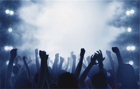 silhouette hand - Audience enjoying live concert Stock Photo - Premium Royalty-Free, Code: 622-08122833