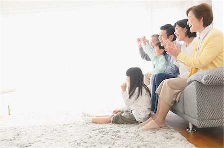 east asian - Three-generation Japanese family on the sofa in the living room Stock Photo - Premium Royalty-Free, Code: 622-08123240