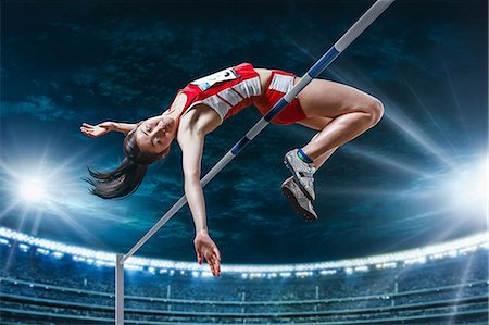 Japanese female high jump athlete jumping Stock Photo - Premium Royalty-Free, Code: 622-08355544