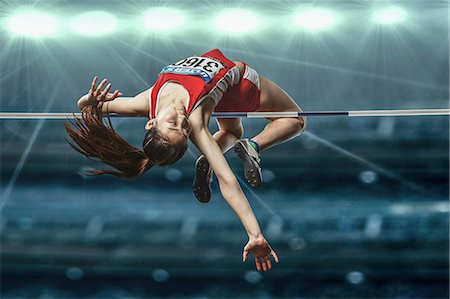 Japanese female high jump athlete jumping Stock Photo - Premium Royalty-Free, Code: 622-08355546