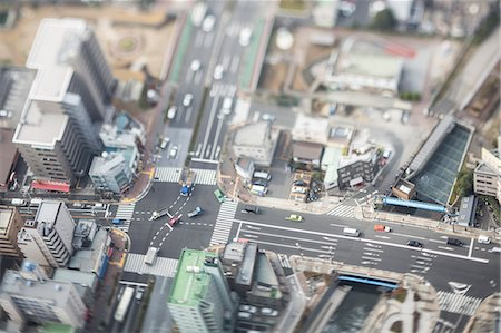 Tilt-shift bird's eye view of Tokyo, Tokyo, Japan Stock Photo - Premium Royalty-Free, Code: 622-08723404