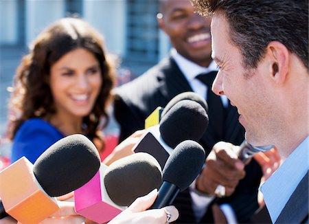 Politician speaking to reporters Stock Photo - Premium Royalty-Free, Code: 635-05550050