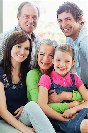 Portrait of smiling multi-generation family Stock Photo - Premium Royalty-Free, Code: 635-05656133