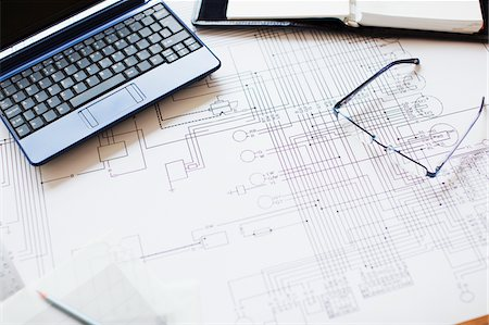 drawing computer - Blueprint, laptop and eyeglasses in office Stock Photo - Premium Royalty-Free, Code: 635-05651547