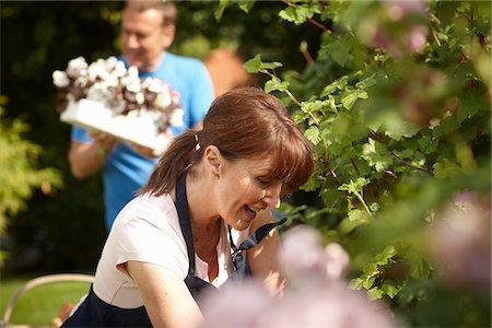 Couple gardening together in backyard Stock Photo - Premium Royalty-Free, Code: 635-05652311