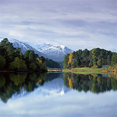 snow capped - Mountains and trees reflected in still lake Stock Photo - Premium Royalty-Free, Code: 635-05972809