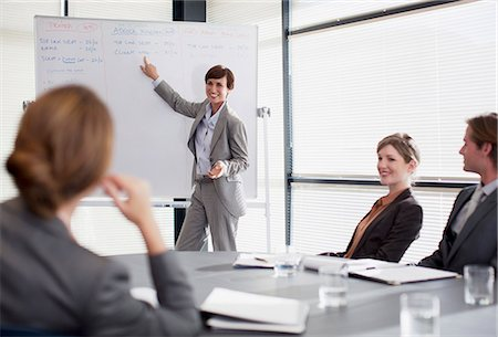 Businesswoman at whiteboard presenting to co-workers Stock Photo - Premium Royalty-Free, Code: 635-06045137