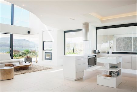Modern kitchen and living room Stock Photo - Premium Royalty-Free, Code: 635-06045393