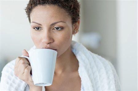 drinking water glass - Woman taking Coffee Stock Photo - Premium Royalty-Free, Code: 635-07670829