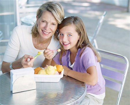 families eating ice cream - Woman and young girl on outdoor patio eating ice cream Stock Photo - Premium Royalty-Free, Code: 635-01823641