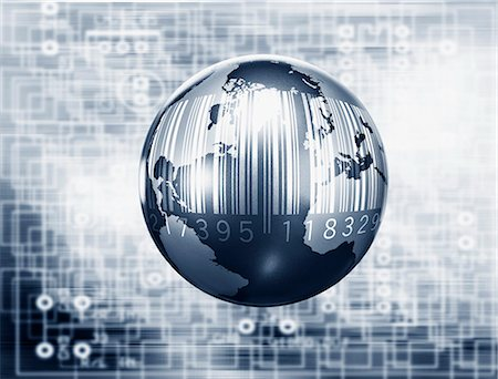 Montage of globe, microchip and bar code Stock Photo - Premium Royalty-Free, Code: 635-02800546