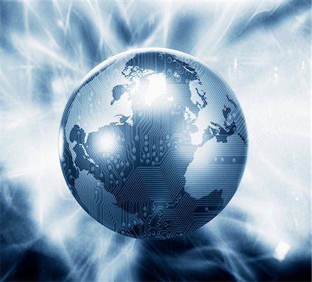 Glowing globe with microchip overlay Stock Photo - Premium Royalty-Free, Code: 635-02800541