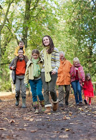 Extended family walking outdoors in autumn Stock Photo - Premium Royalty-Free, Code: 635-03457320
