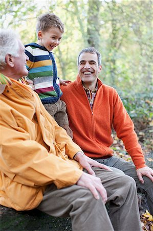 Grandfather, father and son laughing outdoors Stock Photo - Premium Royalty-Free, Code: 635-03457377