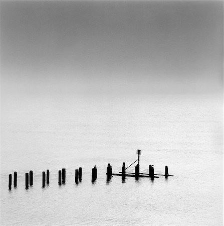 silhouette black and white - Silhouette of pilings in water Stock Photo - Premium Royalty-Free, Code: 635-03457726