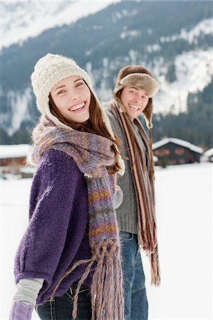 funny pose - Couple outdoors in snow Stock Photo - Premium Royalty-Free, Code: 635-03685141